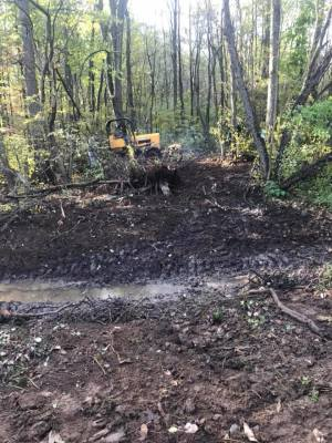 New trail, off C1, into Cockcaigne- bulldozing and brushhogging going on all at once