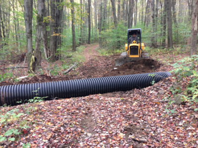 installing a culvert on the new Cockcaigne trail